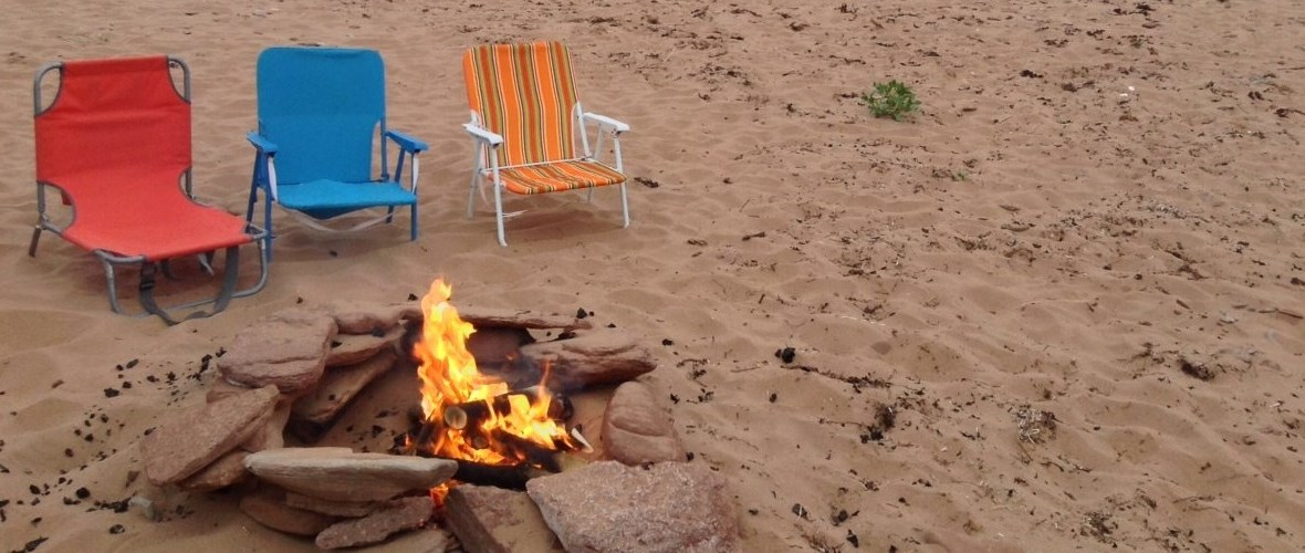 fire pit on beach at PEI Beach House at Cousins Shore